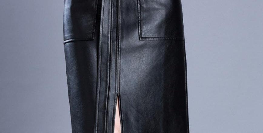Pu Leather Midi Skirt