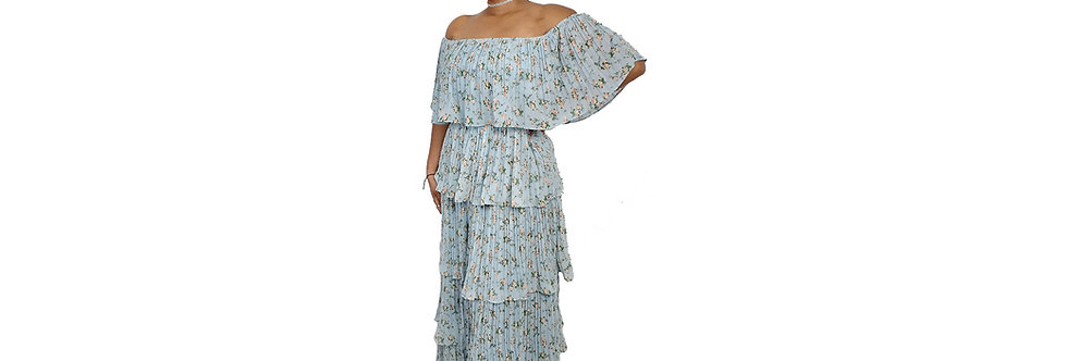 Women's Blue Off Shoulder Maxi Dress