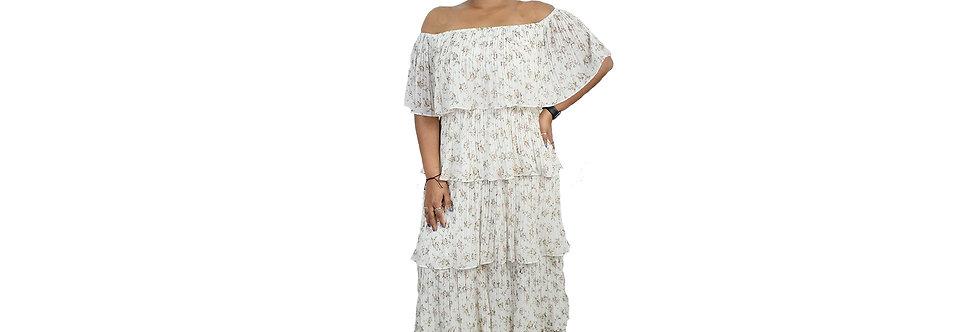 Women's Cream Off Shoulder Maxi Dress