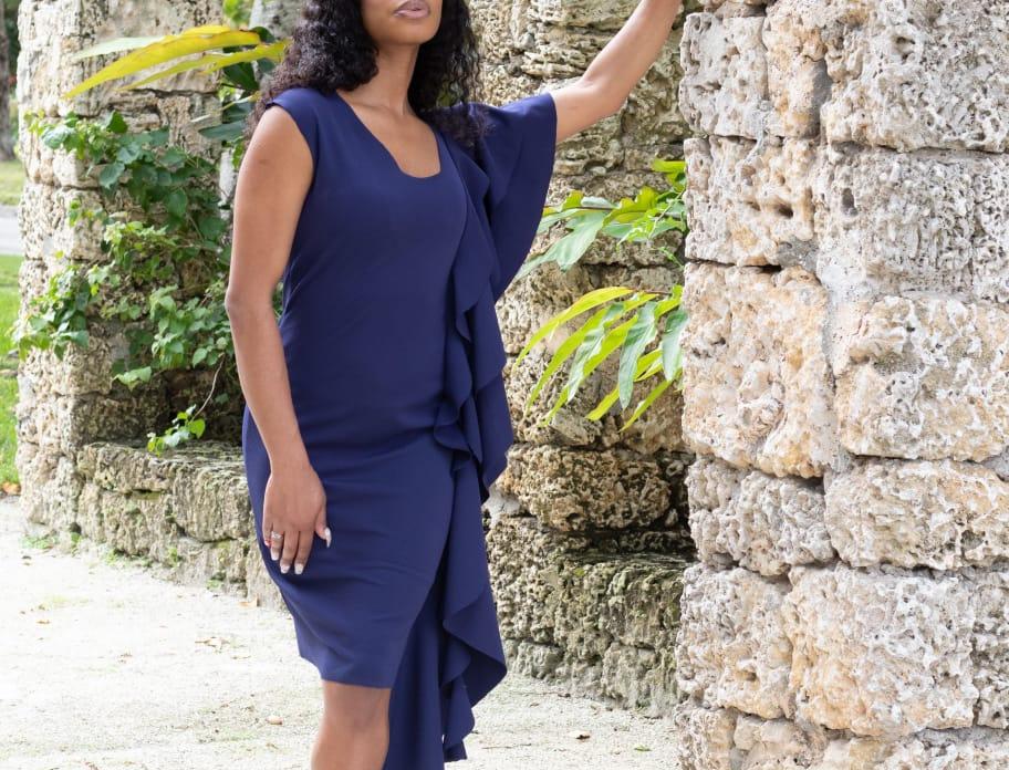 Women's Navy Blue Dress with Flounce