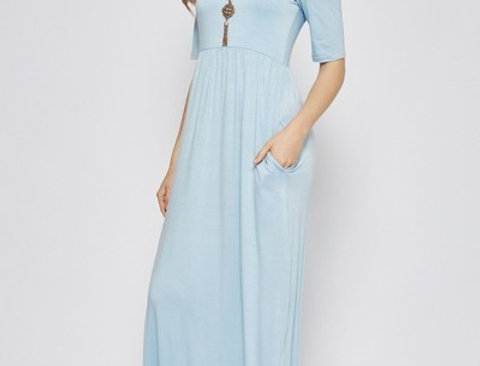 Dusty Sky Blue Maxi Dress
