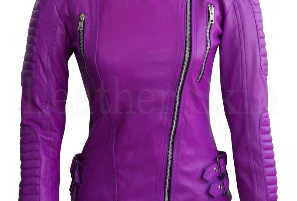 Women Purple Brando Pad Leather Jacket