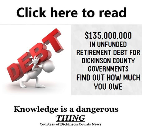 Under funding of pensions Dickinson County Michigan