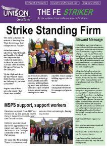 FE Newsletter shows strike standing firm