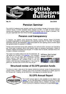 Pensions Bulletin No 51 – Oct 2016