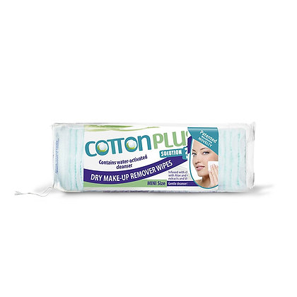 "Cotton Plus Aloe Dry Make-Up Remover Wipes ""Mini"""