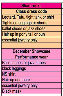 NS Class dress code & performance wear F