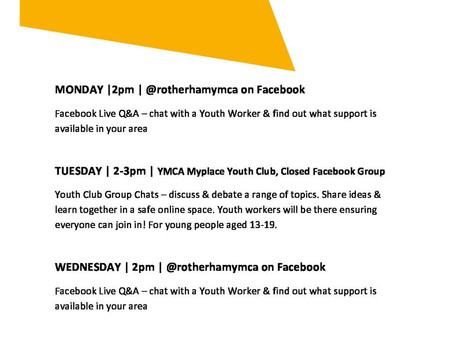 Online Youth Club Timetable