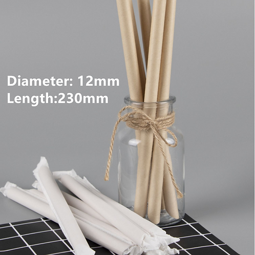Individual wrapped PAPER straws (12mm*230mm) (250pcs)