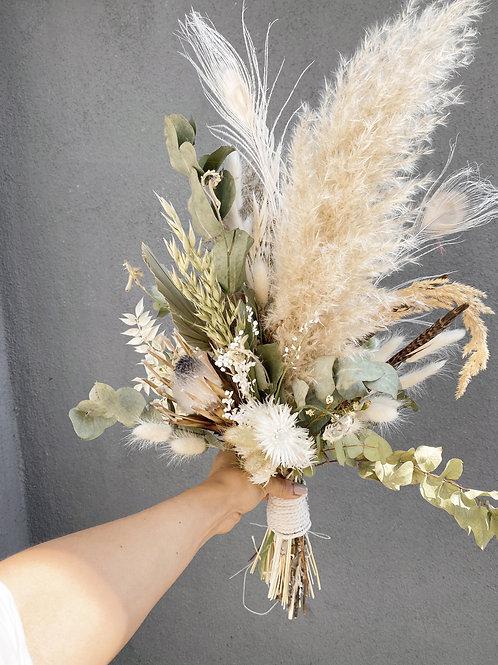 Trockenblumenstrauß weiß/grün