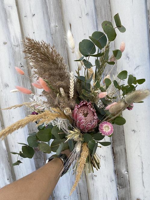 Trockenblumenstrauß grün/rosé/weiß