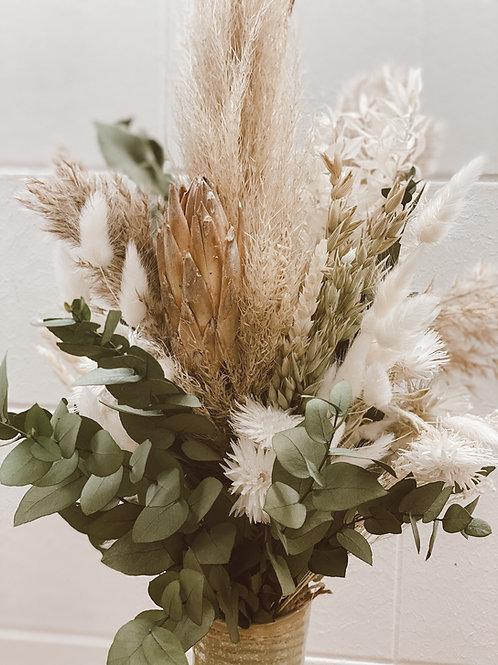 Trockenblumen Strauß greenery white