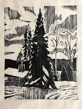 Woodcut on white washi Spruce.jpg