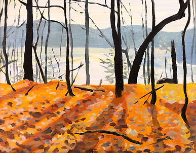 Distant lake view is shown through tree trunks with an orange sun and shadowed foreground.