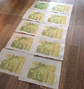 10 mohuhanga prints dry on the floor.