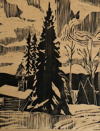 Woodcut on brown washi Spruce.jpg
