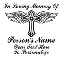 IN MEMORY OF beautiful winged cross Decal Sticker