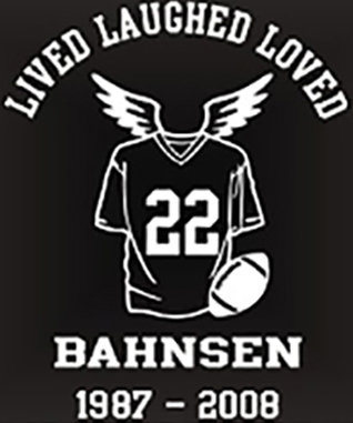 LIVED LAUGHED LOVED Football In Memory of Decal Sticker