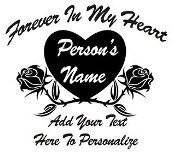 Forever in my heart duel rose heart Decal Sticker