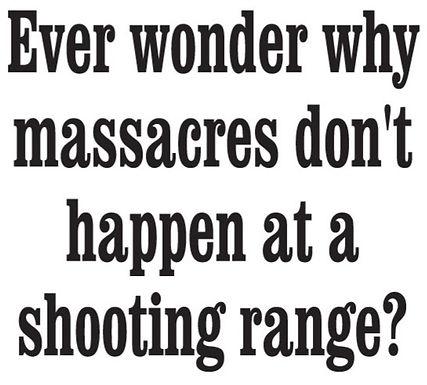 Ever wonder why gun massacres don't happen at a gun range? Gun Decal Sticker