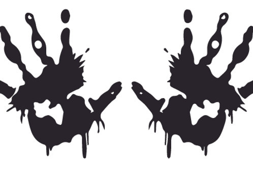 2 Bloody Hand Prints Zombie Decal Sticker