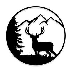 Mountain of Deer Hunting Decal Sticker