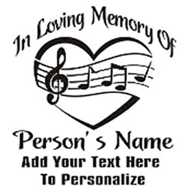 IN LOVING MEMORY OF Heart of Music Decal Sticker