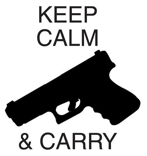 KEEP CALM AND CARRY Gun Decal Sticker