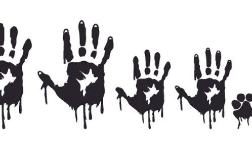 Bloody handprint stick family Zombie Decal Sticker