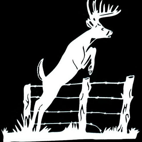 Deer Jumping Fence Hunting Decal Sticker
