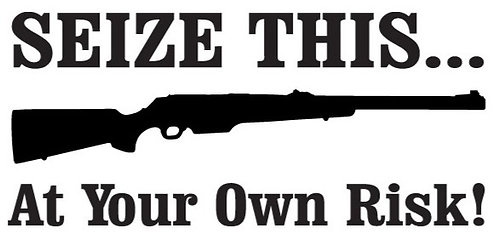 SEIZE THIS AT YOUR OWN RISK Gun Decal Sticker