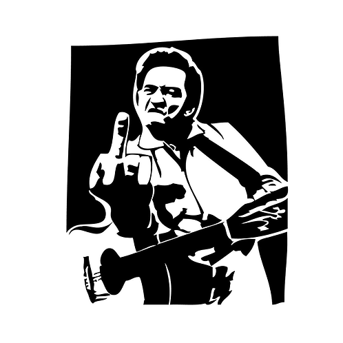 copy of Johnny Cash FUCK YOU Middle Finger 2 Decal Sticker