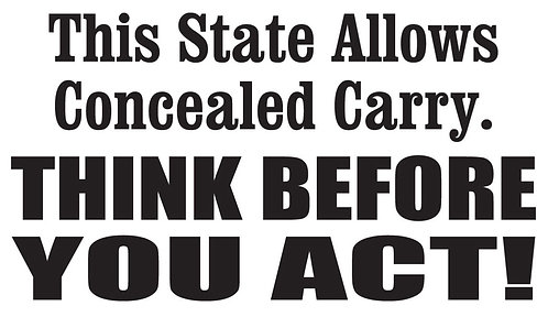 THIS STATE ALLOW CONCEAL CARRY Gun Decal Sticker