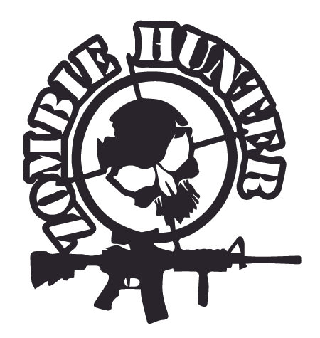 ZOMBIE HUNTER Skull Decal Sticker