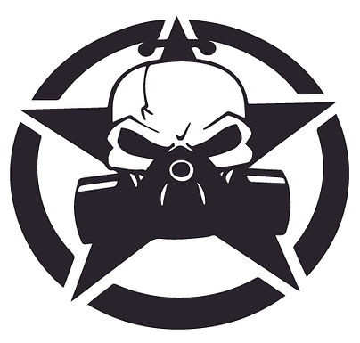 Jeep Skull Respirator Mask Star Decal Sticker