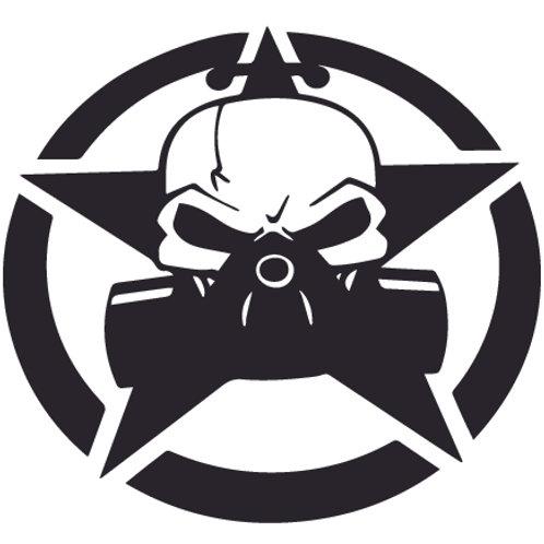 Jeep Skull Respirator Mask Star Decal Sticker