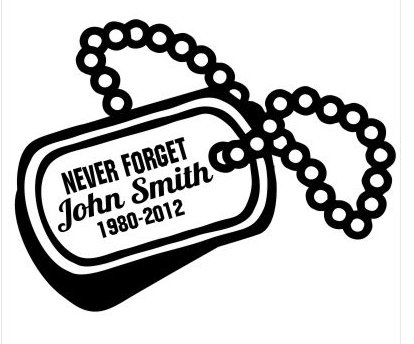 NEVER FORGET Dog tags military memory Decal Sticker