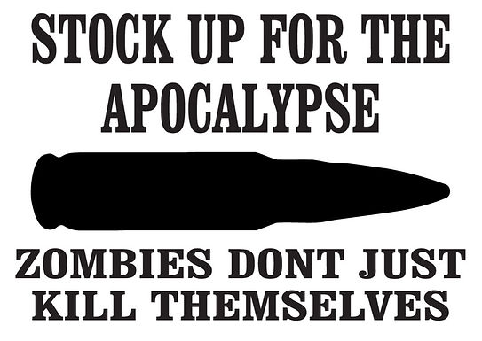 Stock up for the apocalypse, zombies don't just kill themselves decal