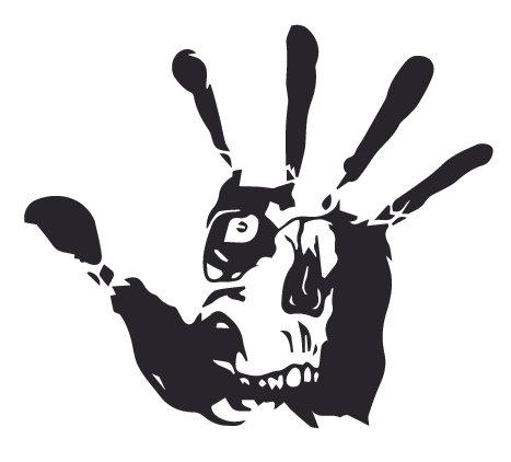 Bloody hand print skull zombie Decal Sticker
