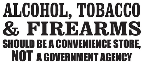 Alcohol tobacco and firearms Gun Decal Sticker
