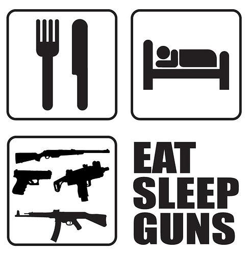 EAT SLEEP GUNS Gun Decal Sticker