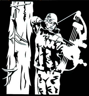 Bowhunter Terror From the Skies Hunting Decal Sticker