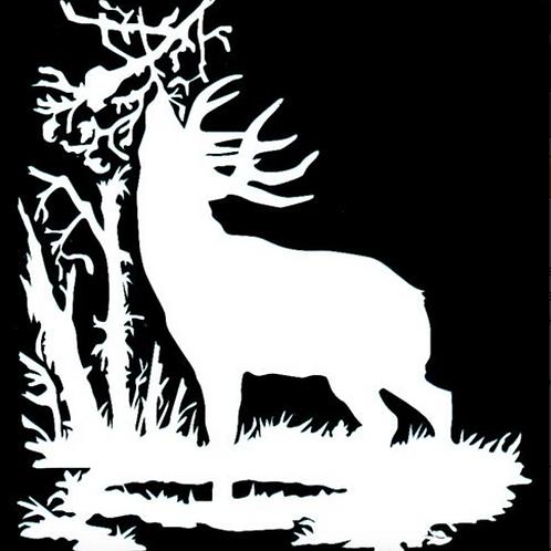 Deer Licking Branch Scrape Hunting Decal Sticker