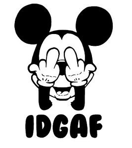 MICKEY MOUSE IDGAF Decal Sticker