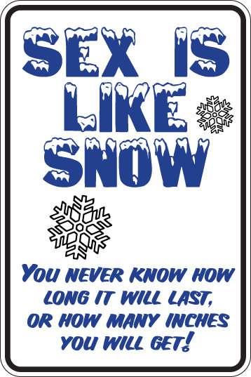 SEX IS LIKE SNOW Funny Sign