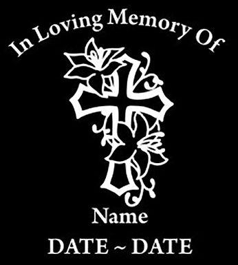 In loving memory of flower cross design Decal Sticker