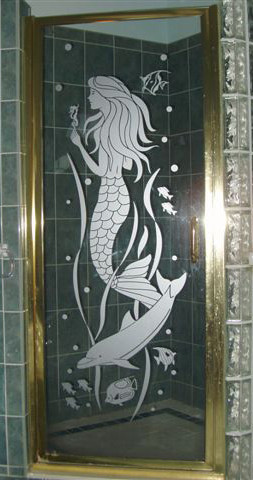 Etched Glass Mermaid Decal