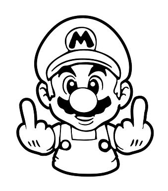 Mario FUCK YOU Middle Finger Decal Sticker