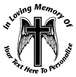 In loving memory of winged cross Decal Sticker