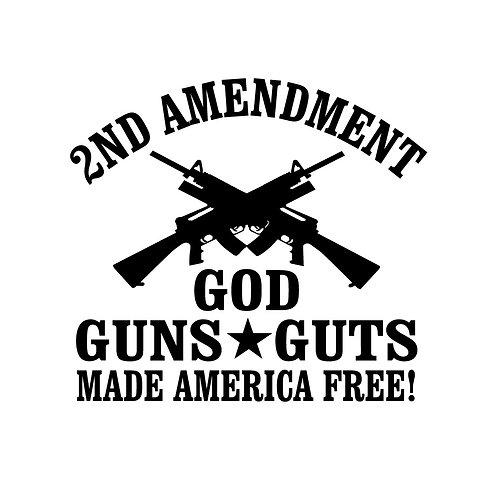 2nd Amendment - God Guns Guts Sticker